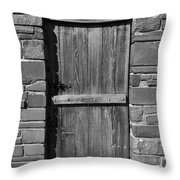 Wooden Door And Stone Wall 1 Throw Pillow