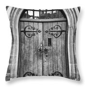 Wooden Door At Tower Hill Bw Throw Pillow