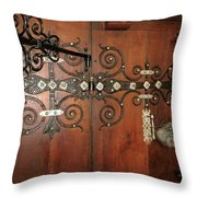 Wooden Doors Throw Pillow