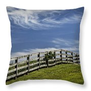 Wooden Farm Fence On Crest Of A Hill Throw Pillow
