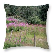 Wooden Fence And Pink Fireweed In Norway Throw Pillow
