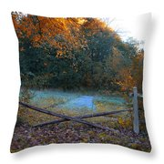 Wooden Fence In Autumn Throw Pillow