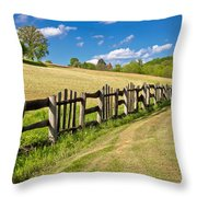 Wooden Fence In Green Landscape Throw Pillow