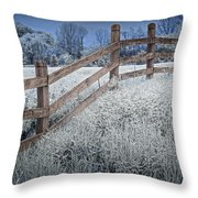 Wooden Fence Of A Friesian Horse Pasture On Windmill Island Throw Pillow