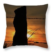 Wooden Fence Post Sunset Throw Pillow
