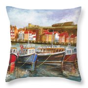 Wooden Fishing Boats In The Whitby Fleet Of Northern England Throw Pillow