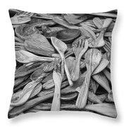 Wooden Flatware Throw Pillow