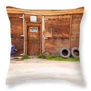 Wooden Gate Of Rural Timber Building Closed Sign Throw Pillow