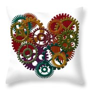 Wooden Gears Forming Heart Shape Illustration Throw Pillow