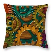 Wooden Gears On Wood Grain Texture Background Throw Pillow
