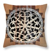 Wooden Guitar Inlay With Strings Throw Pillow