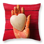 Wooden Hand With White Heart Throw Pillow