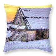Wooden Hut In Sunset Throw Pillow