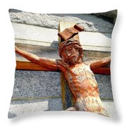 Wooden Jesus Throw Pillow