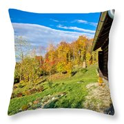 Wooden Lodge In Autumn Mountain Nature Throw Pillow