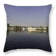 Wooden Logs Mounted In The Middle Of The Dal Lake In Srinagar Throw Pillow