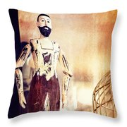 Wooden Man Throw Pillow