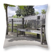 Wooden Park Benches Throw Pillow
