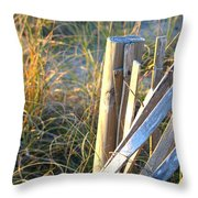 Wooden Post And Fence At The Beach Throw Pillow