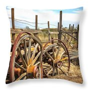 Wooden Ranch Wagon Throw Pillow