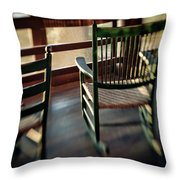 Wooden Rocking Chairs On A Deck Throw Pillow