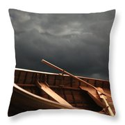 Wooden Rowboat Throw Pillow
