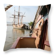 Wooden Sailingships Throw Pillow