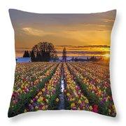 Wooden Shoe Tulip Festival Sunset Throw Pillow
