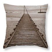 Wooden Slipway Rhos On Sea Throw Pillow