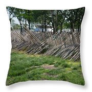 Wooden Spiked Fence Throw Pillow