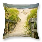 Wooden Stairs Over Dunes At Beach Throw Pillow