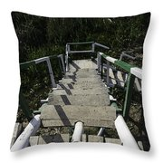 Wooden Steps Coming Down From A Watchtower Throw Pillow