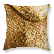 Wooden Tablespoon Serving Of Uncooked Brown Rice Throw Pillow
