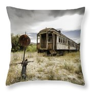 Wooden Train - Final Resting Place  Throw Pillow