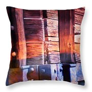 Wooden Wagon Side In Colors Throw Pillow