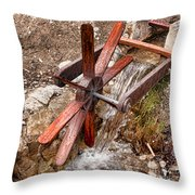 Wooden Water Wheel Throw Pillow