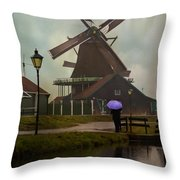 Wooden Windmill In Holland Throw Pillow