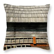 Wooden Window And Roof  Throw Pillow
