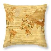 Wooden World Map 2 Throw Pillow