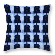 Woodgrain Guitar Blue Throw Pillow