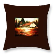 Woodland Barn In Autumn Throw Pillow