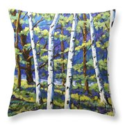 Woodland Birches Throw Pillow