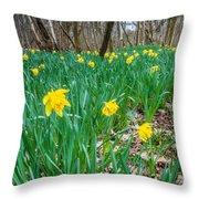 Woodland Daffodils Throw Pillow