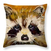Woodland Racoon Throw Pillow