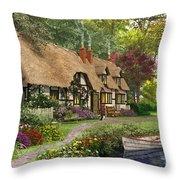 Woodland Walk Cottage Throw Pillow