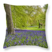 Woodland Walk In Blue Throw Pillow