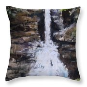 Woodland Waterfall Throw Pillow by Jack Skinner