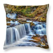 Wateralls In The Woods Throw Pillow
