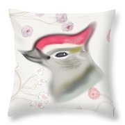 Woodpecker In Cherry Blossoms Throw Pillow
