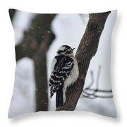 Woodpecker In Winter Throw Pillow